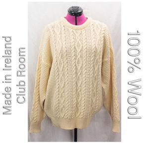 Chunky Ivory Wool Irish Aran Cable knit Sweater L